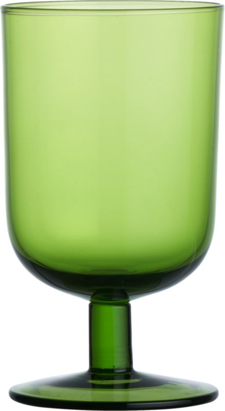 curve short green wine glass