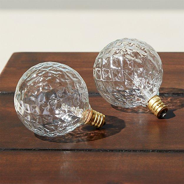 set of 2 cut glass string light bulbs