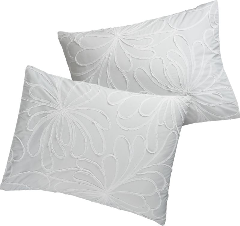 set of 2 standard dahlia appliqué flower shams