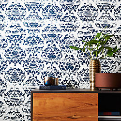 damask navy and white traditional paste wallpaper
