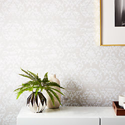damask white and light grey traditional paste wallpaper