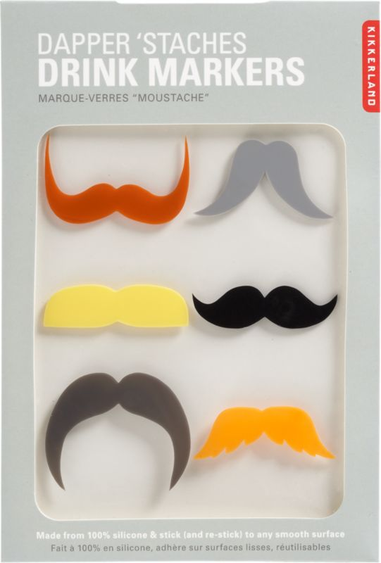 dapper stache drink markers set of 6