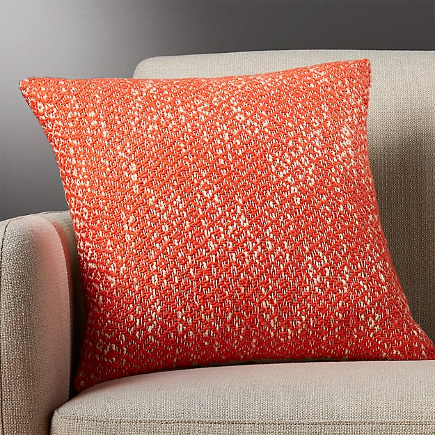 "diamond weave red-orange 18"" pillow with down-alternative insert"
