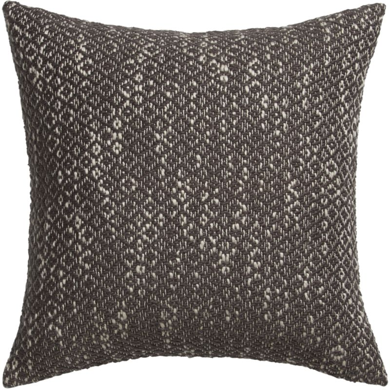 "diamond weave brown 18"" pillow with feather-down insert"
