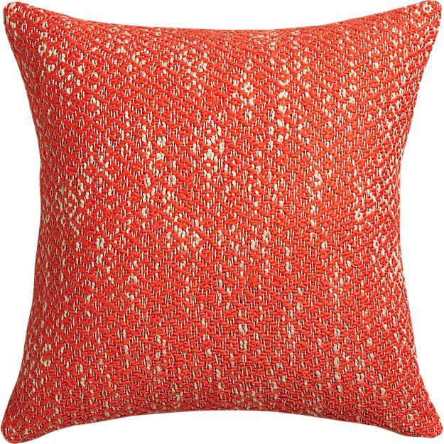 "diamond weave red-orange 18"" pillow with down-alternative insert"