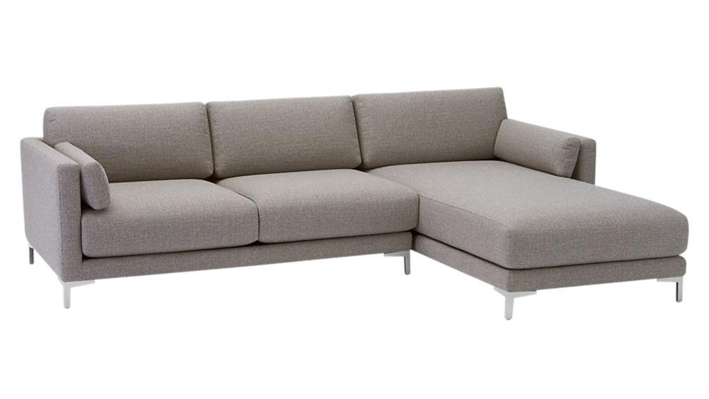 district 2 piece sectional sofa vibe smokey cb2 With district 2 piece sectional sofa