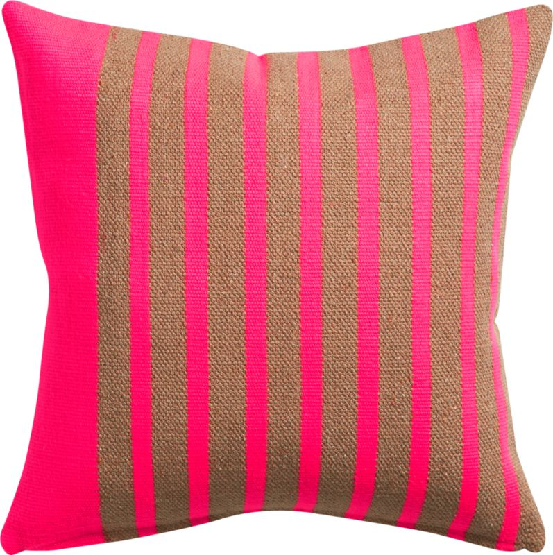 "division neon pink 20"" pillow with feather insert"