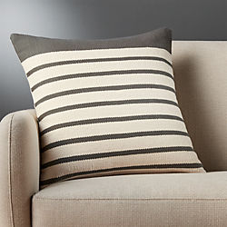 "division grey striped 20"" pillow"