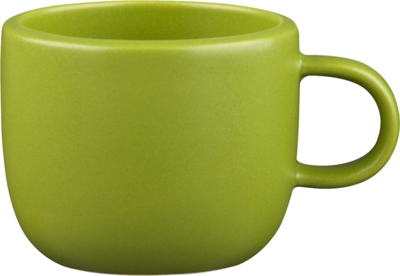 """<span class=""""copyHeader"""">chroma java.</span> Handmade in durable stoneware, matte green mug is sized to sip the perfect double shot...or cuppa joe, before it gets cold. Neat design stacks to store.<br /><br /><NEWTAG/><ul><li>Handmade</li><li>Stoneware</li><li>Color variations will occur due to glazing process</li><li>Stacks to store</li><li>Dishwasher- and microwave-safe</li></ul><br />"""