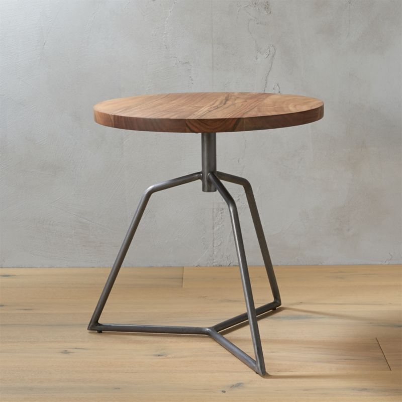 Dot Acacia Side Table Stool Cb2