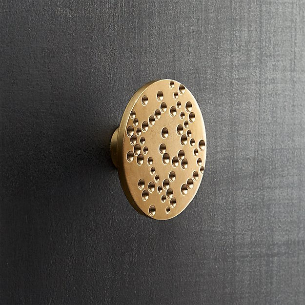 dotted brass disk drawer pull
