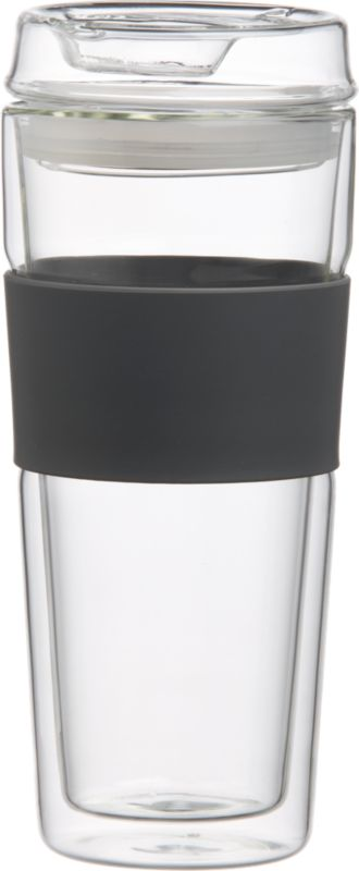 double wall glass commuter mug