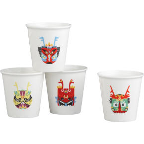 set of 4 dragon tea cups