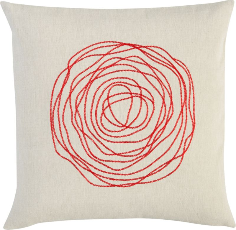 """ebb red 16"""" pillow"""