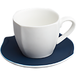 eddie white teacup with navy saucer