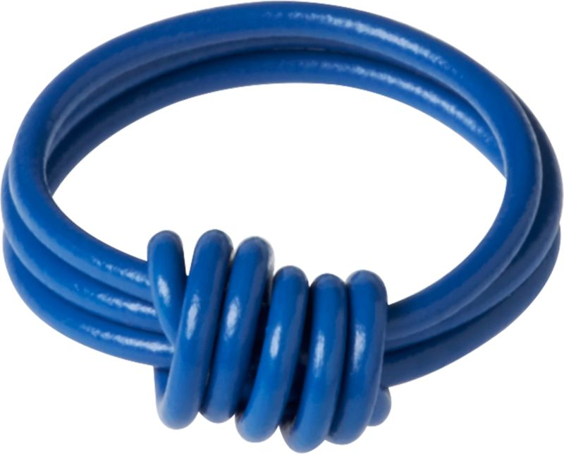 """<span class=""""copyHeader"""">electric connection.</span> Handmade in a studio in Bainbridge Island, Washington, this is industrial ring comes full circle. Reclaimed from buildings no longer in use in the Northwest region of the U.S., copper electrical wire is handknotted into a bold blue eco-friendly accessory. At the end of its useful life, this ring can be recycled once again with other metals. Arrives in a lean, green matchbox of 100% recycled paper. A portion of the sales from these rings helps to support environmental causes through the studio's commitment to 1% for the planet.<br /><br /><NEWTAG/><ul><li>Handknotted</li><li>100% reclaimed copper electrical wire</li><li>Packaged in a matchbox made of 100% recycled paper</li><li>A portion of the sales from these rings helps to support environmental causes through the studio's commitment to 1% for the planet</li></ul>"""