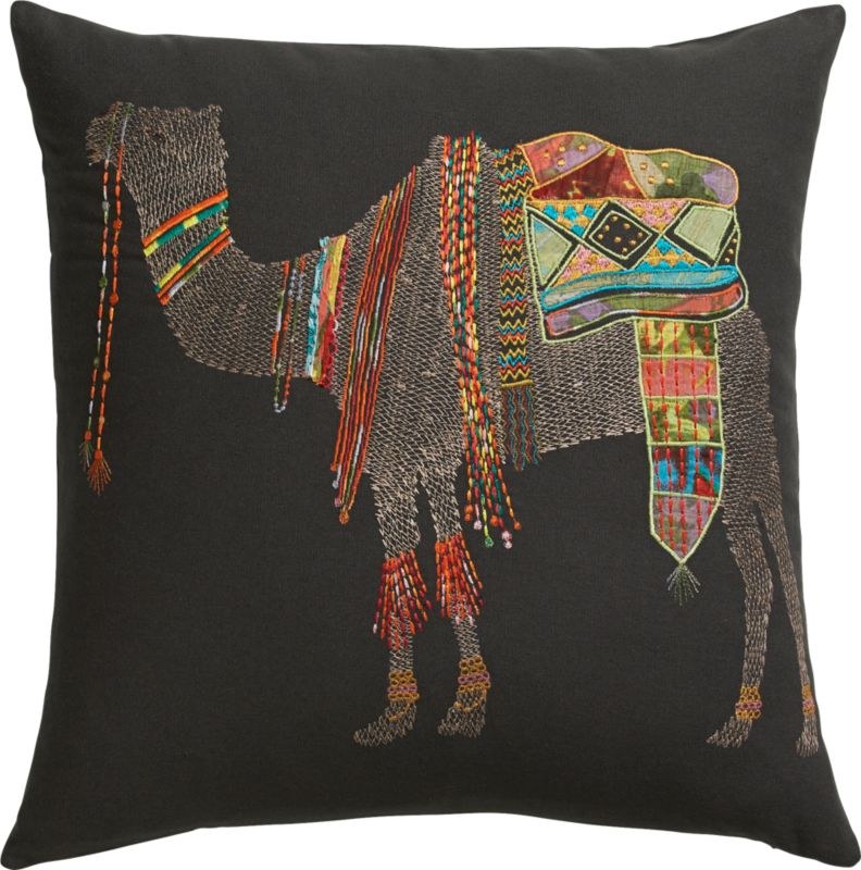 "embroidered camel 18"" pillow with feather-down insert"