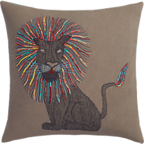 "embroidered lion 18"" pillow"