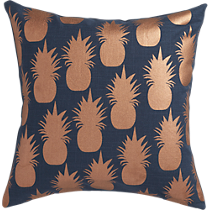 "escape copper pineapples 18"" pillow"