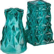 eureka green glass salt and pepper shaker set