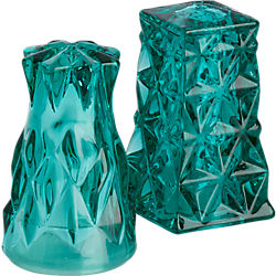 eureka green glass salt and pepper shaker set
