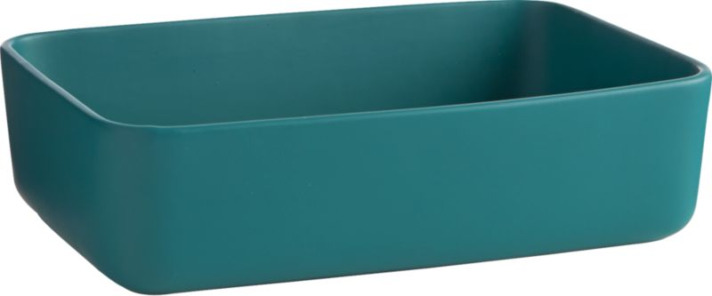 """<span class=""""copyHeader"""">squared away.</span> Handmade stoneware baking dish bakes and serves oven-to-table in matte evergreen. Smooth contours round the corners, and generous proportion dishes everything from lasagna to fruit crisps and crumbles. Dines well with matte white server/baker.<br /><br /><NEWTAG/><ul><li>Handmade</li><li>Stoneware in matte evergreen</li><li>Microwave- and dishwasher-safe</li><li>Oven-safe to 350 degrees (no more than 2 hours)</li></ul>"""