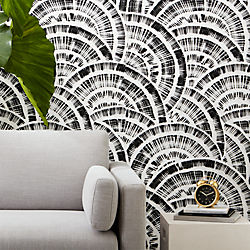 expressionist rounds black and white wallpaper