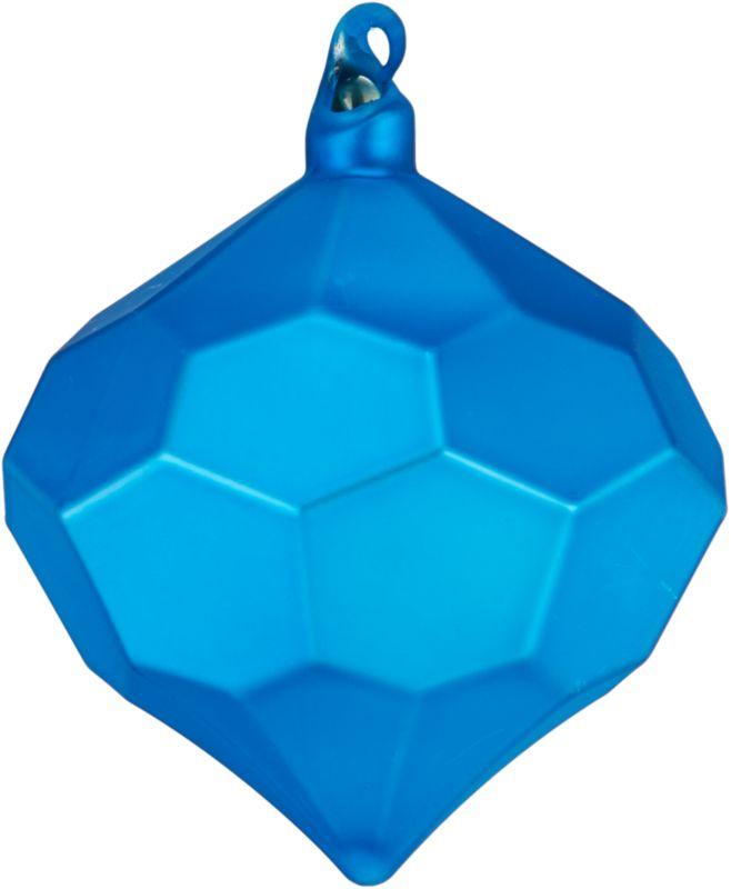 "<span class=""copyHeader"">rare gem.</span> Modern glass bulb is festive from every faceted angle in matte blue.<br /><br /><NEWTAG/><ul><li>Glass</li><li>Painted matte blue</li></ul>"