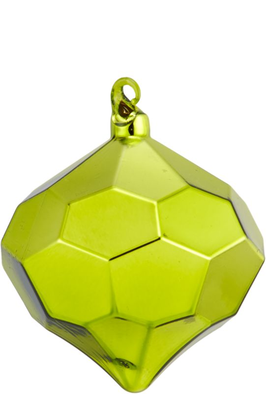 "<span class=""copyHeader"">rare gem.</span> Modern glass bulb is festive from every faceted angle in slick green.<br /><br /><NEWTAG/><ul><li>Glass</li><li>Painted glossy green</li></ul>"