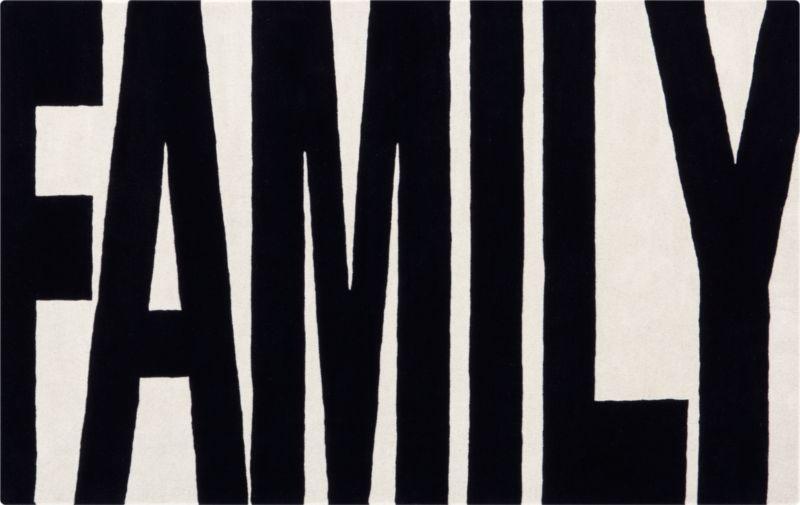 family black and white rug 5'x8'