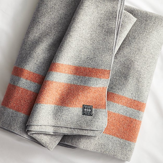 faribault orange stripe wool full/queen blanket
