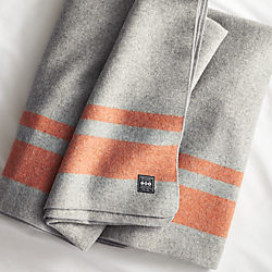 faribault orange stripe wool blanket