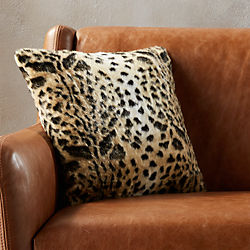 "faux fur cheetah 16"" pillow"