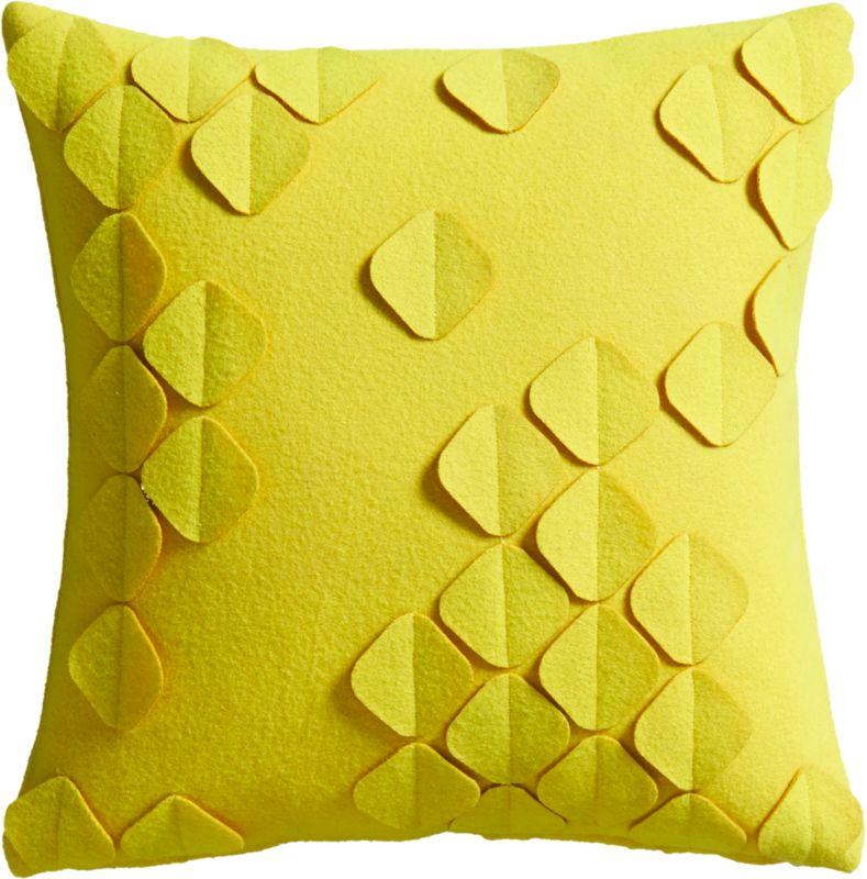"""felt flutter yellow 16"""" pillow with feather insert"""