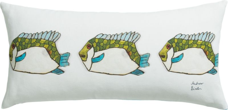"fish 23""x11"" pillow with feather-down insert"