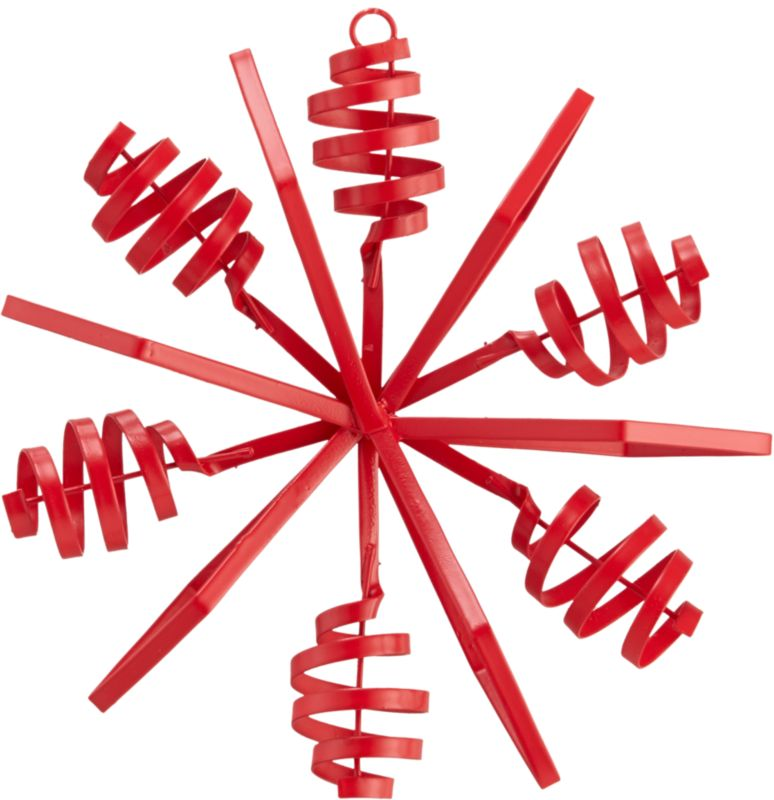 """<span class=""""copyHeader"""">twist and snow.</span> Bright red snowflake pops industrial in hand-bent iron sheet metal.<br /><br /><NEWTAG/><ul><li>Hand-bent iron sheet metal</li><li>Painted red</li></ul>"""