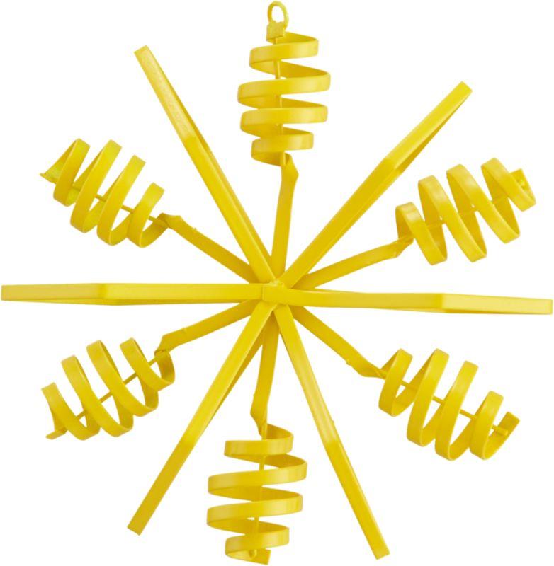 "<span class=""copyHeader"">twist and snow.</span> Bright yellow snowflake pops industrial in hand-bent iron sheet metal.<br /><br /><NEWTAG/><ul><li>Hand-bent iron sheet metal</li><li>Painted yellow</li></ul>"