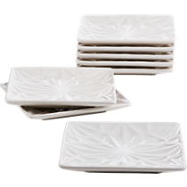 flake white party-appetizer plates set of eight