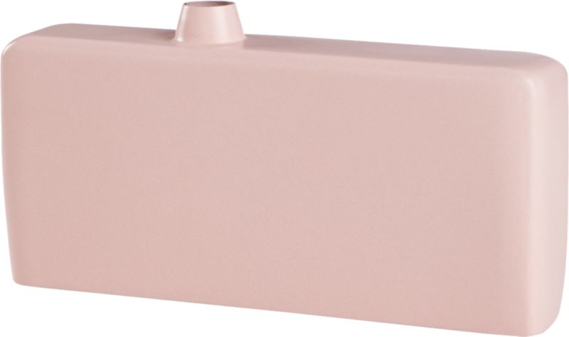 """<span class=""""copyHeader"""">bloom box.</span> Slick pale pink gleams in soft contrast to handcrafted iron form. Sleek, narrow and modern, exaggerated scale contrasts mini off-center opening to host a single bloom. Arresting empty, too.<br /><br /><NEWTAG/><ul><li>Handcrafted</li><li>Iron</li><li>Pink hi-gloss powdercoat</li><li>Wipe with soft, dry cloth</li></ul>"""
