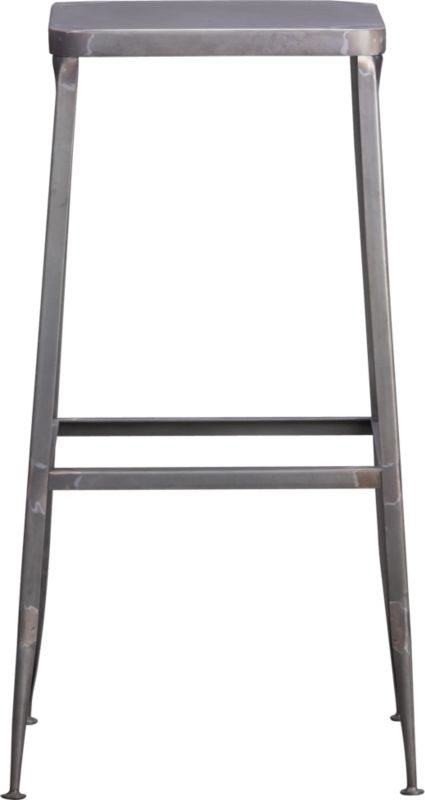 "<span class=""copyHeader"">quintessential.</span> Factory-inspired stool parks square at the bar in flint steel with raw metal finish, exposed welding. Legs flare refined, love those little capped feet. Each a handcrafted original.<br /><br /><NEWTAG/><ul><li>Handcrafted steel with raw finish</li><li>Flared legs</li><li>Feet have protective pads</li><li>30""H seat sized for bars</li><li>Each is unique</li></ul>"