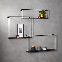 3-piece floating large matte black shelf set