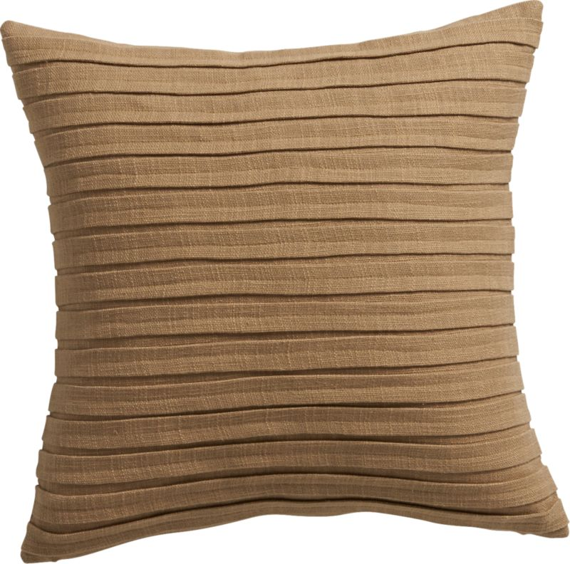 "fold tan 16"" pillow with down-alternative insert"