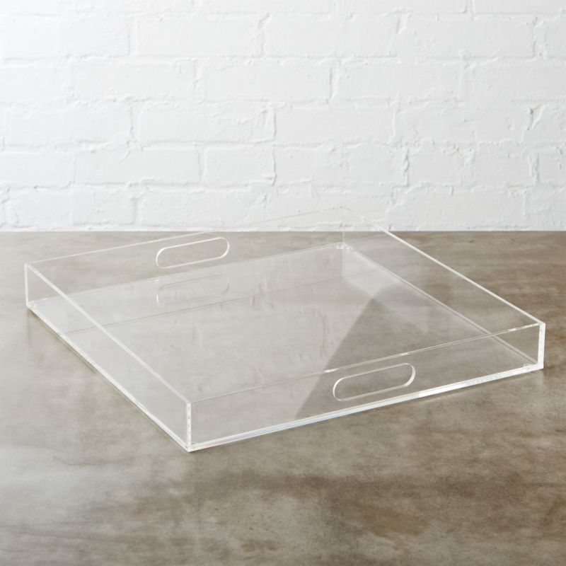 """<span class=""""copyHeader"""">clean your desk.</span> See-through acrylic square organizes in not-so-plain sight. Declutter your desk, neaten the bath or tidy the living room. Integrated handles make it easy to clean up room to room.<br /><br /><NEWTAG/><ul><li>Acrylic</li><li>Clean with soft, dry cloth</li></ul>"""