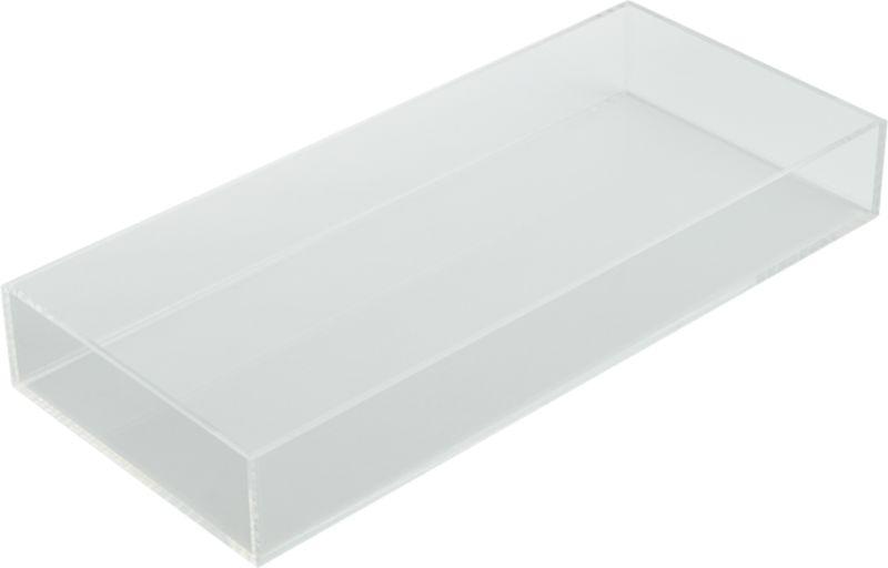 "<span class=""copyHeader"">clean up your act.</span> Crystal clear acrylic organizes sink top to desktop in not-so-plain sight.<br /><br /><NEWTAG/><ul><li>Use as server, desk accessory or table decor</li><li>Acrylic</li><li>Clean with soft dry cloth</li></ul>"