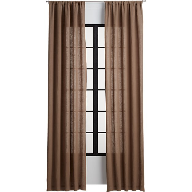 taupe linen curtain panel
