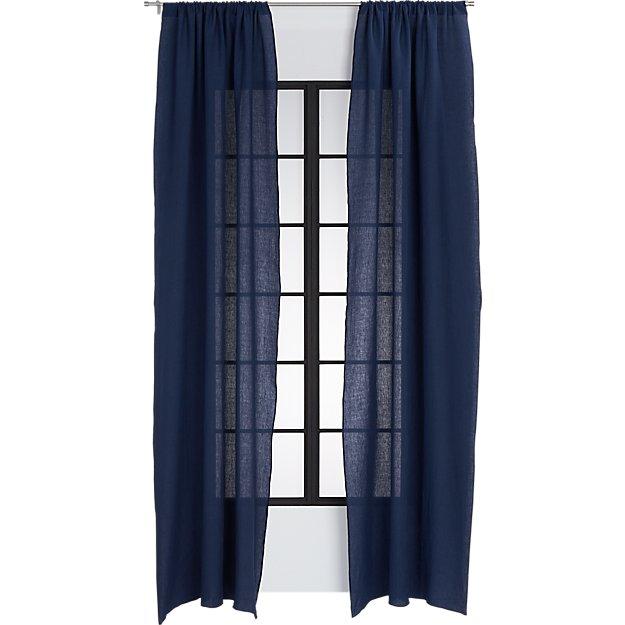 navy linen curtain panel