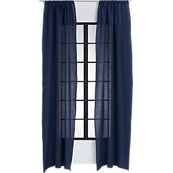 navy linen curtain panel