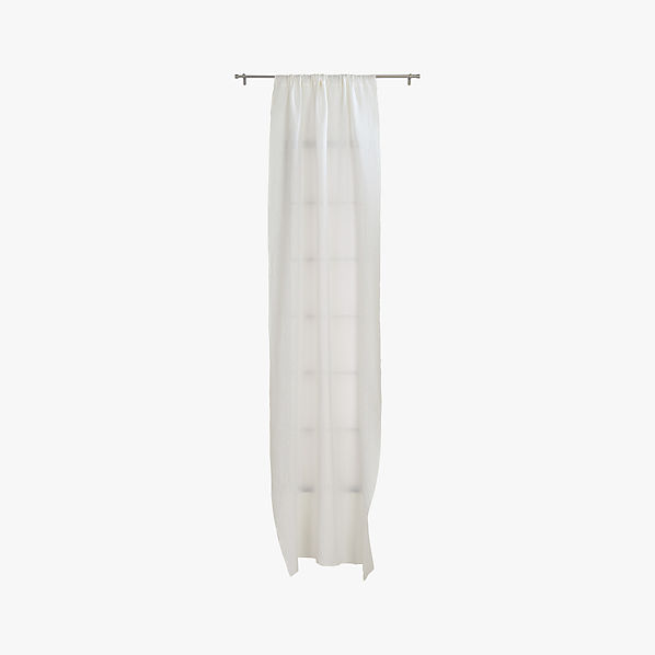 French Belgian White Linen Curtain Panel 48 X84 Cb2