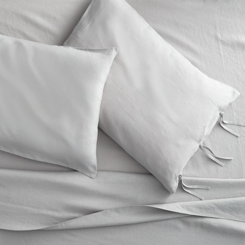 French-Belgian linen shale queen sheet set