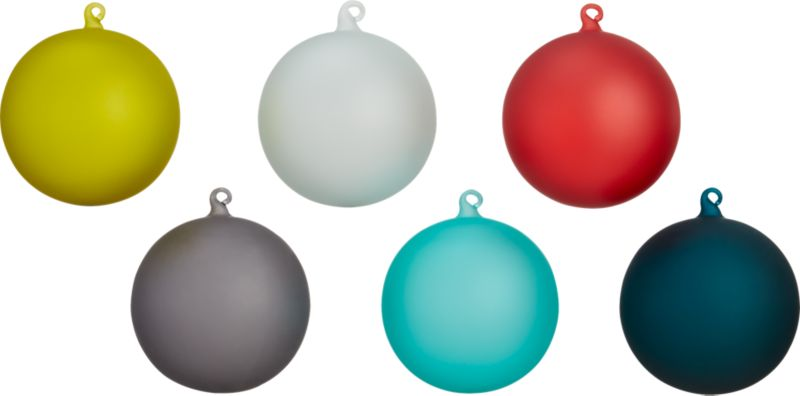 set of 6 frosted ornaments